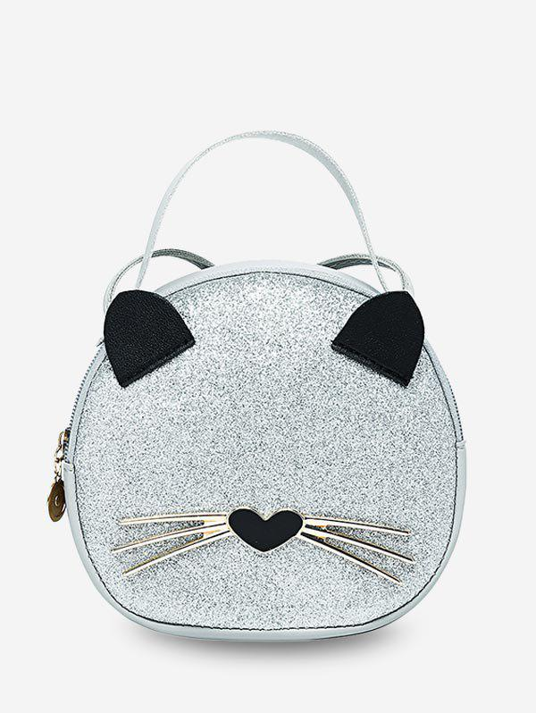 Cute Cat Top Handle Round Crossbody Bag - MILK WHITE