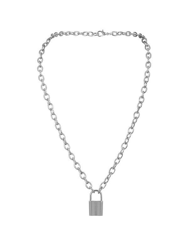 Lock Link Chain Pendant Necklace - SILVER