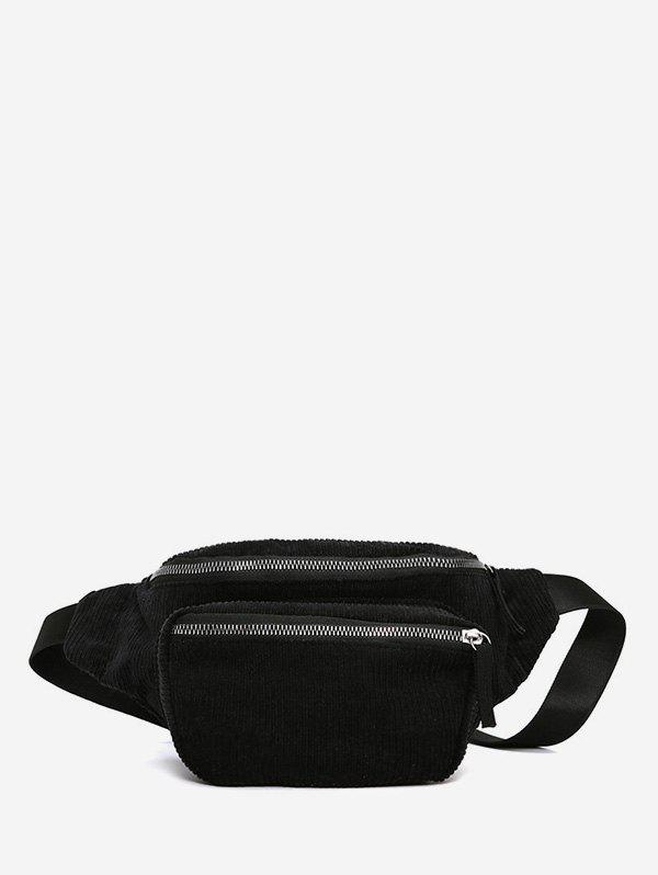 Plain Corduroy Causal Waist Bag - BLACK