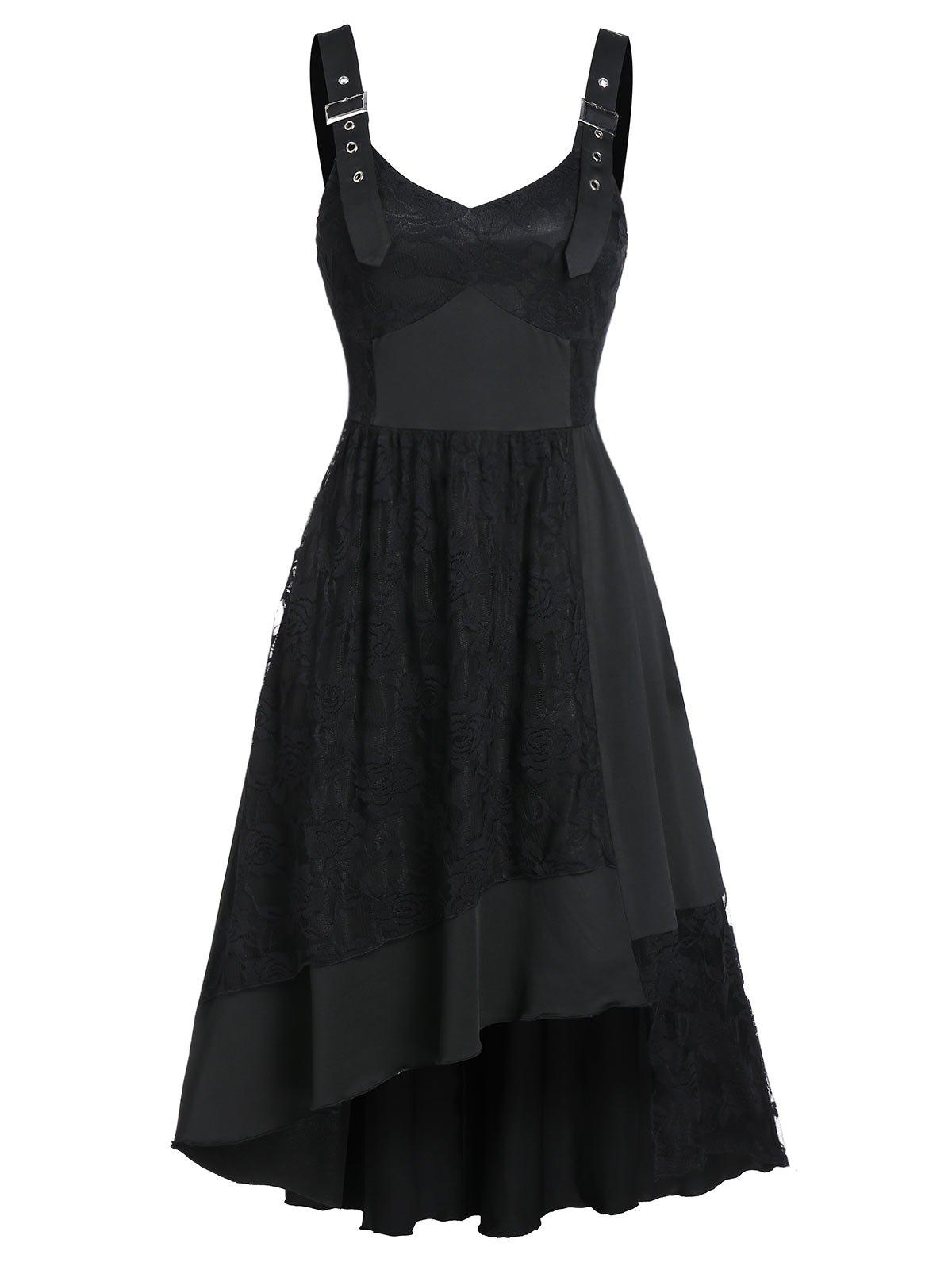 Buckle Strap Cami Lace Asymmetric Hem Dress - BLACK M