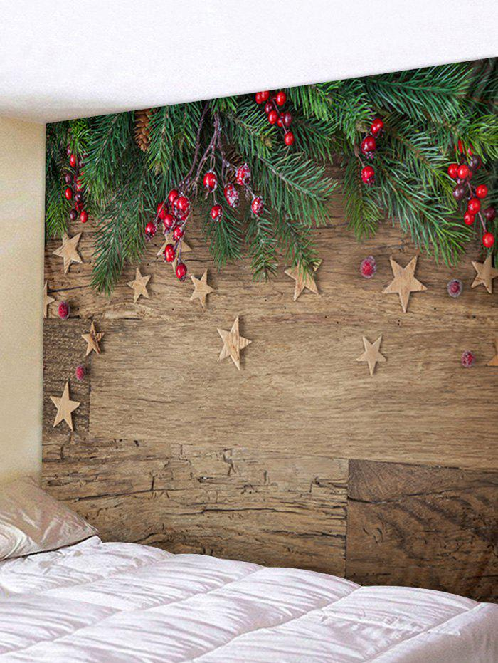 Christmas Wooden Pattern Tapestry - multicolor A W71 X L91 INCH
