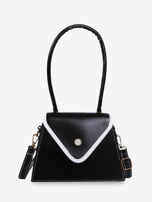Faux Pearl Contrast Piped Flap Handbag - BLACK