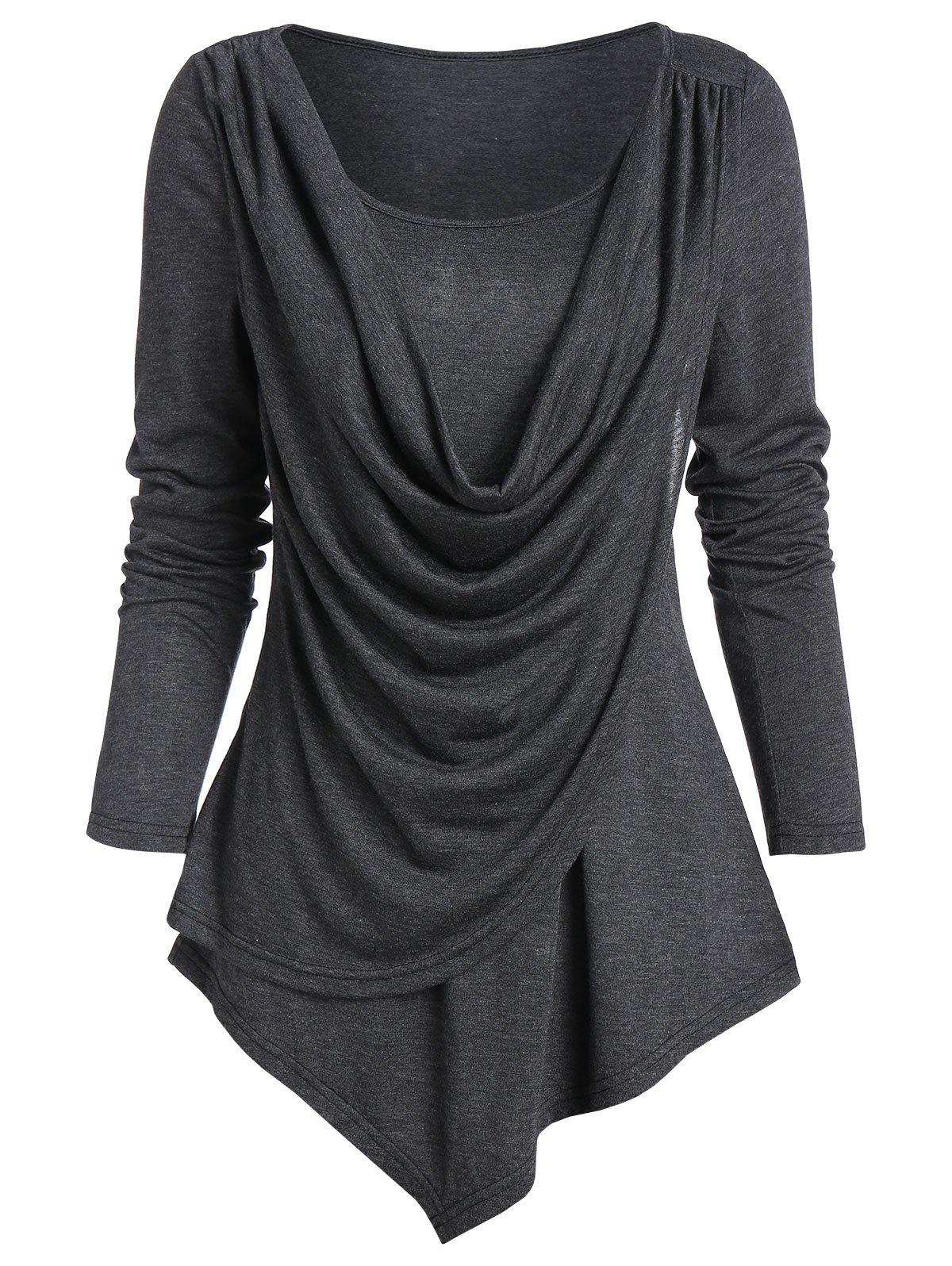 Pointed Hem Heathered Draped Overlap T-shirt - DARK GRAY XL