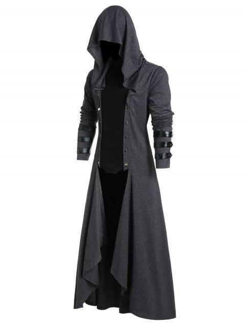 Faux Leather Insert Button Up Gothic Hoodie - CARBON GRAY XL