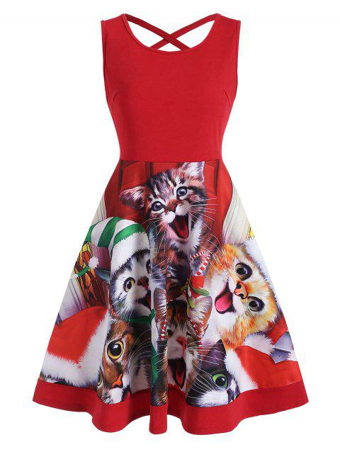 Cat Graphic Criss Cross Christmas Flare Dress - RED M