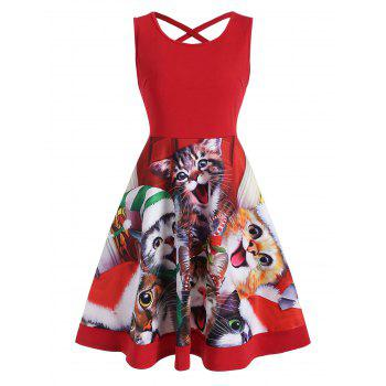 Cat Graphic Criss Cross Christmas Flare Dress