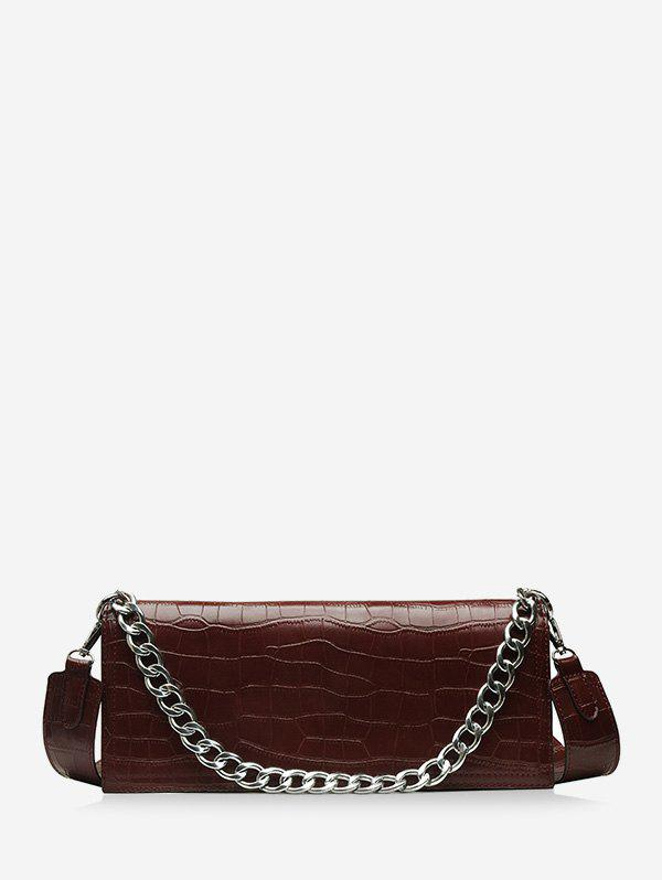 Chain Decorate Embossed Shoulder Bag - COFFEE