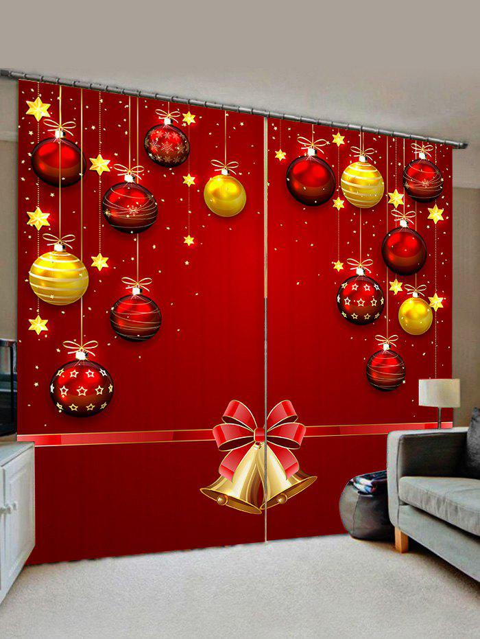 2 Panels Christmas Balls Bells Print Window Curtains - LAVA RED W30 X L65 INCH X 2PCS