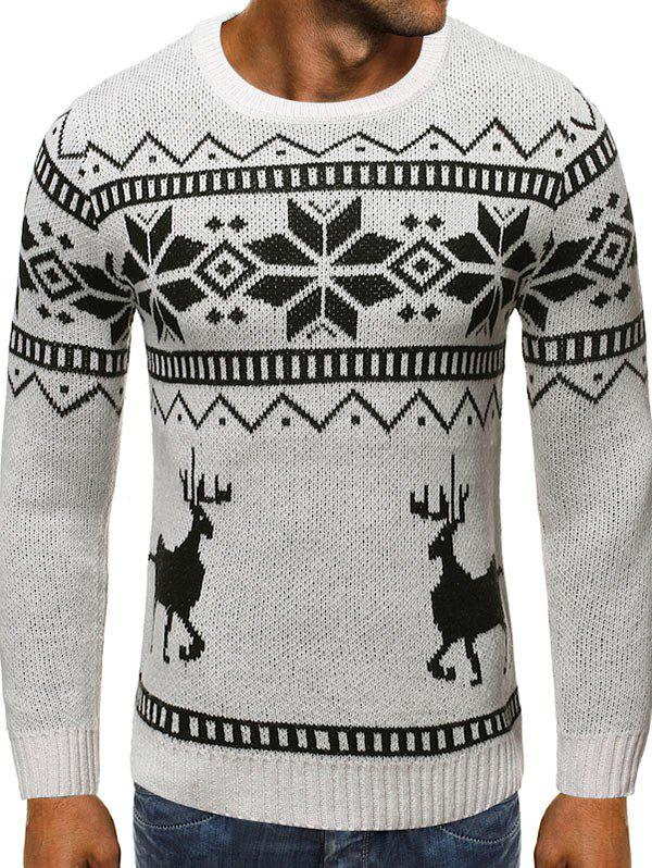 Christmas Snowflake Elk Graphic Sweater - WHITE S