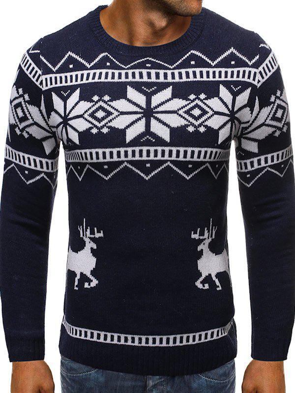Christmas Snowflake Elk Graphic Sweater - CADETBLUE S