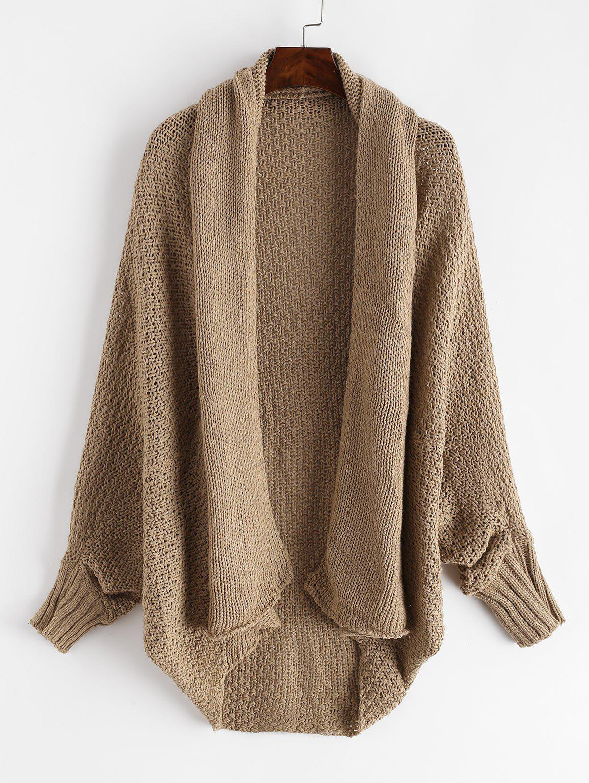 Dolman Sleeves Solid Open Knit Cardigan - CAMEL BROWN ONE SIZE