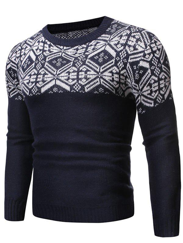 Geometric Graphic Contrast Pullover Sweater - CADETBLUE XS
