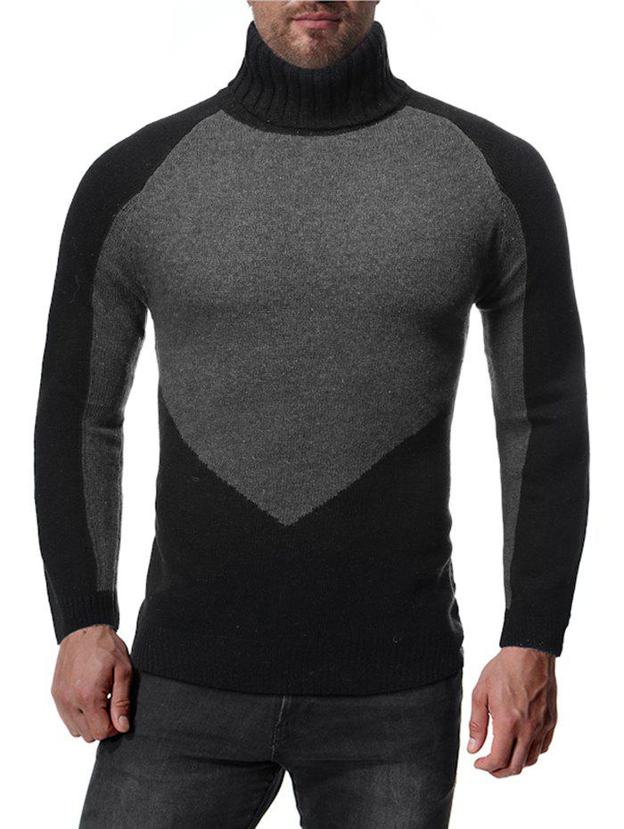 Colorblock Spliced Raglan Sleeve Turtleneck Sweater - BLACK XL