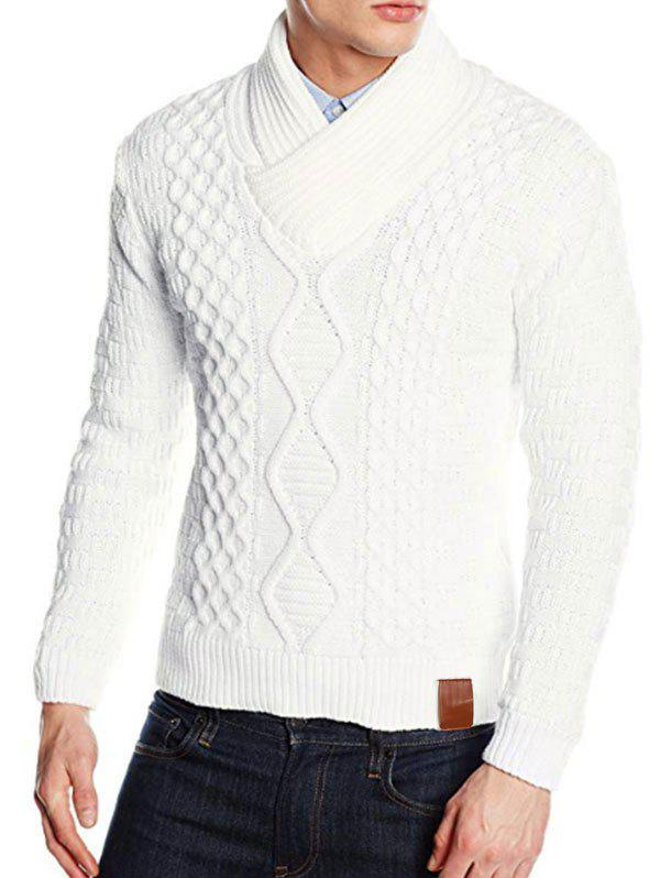Solid Color Knitted Shawl Collar Sweater - WHITE S