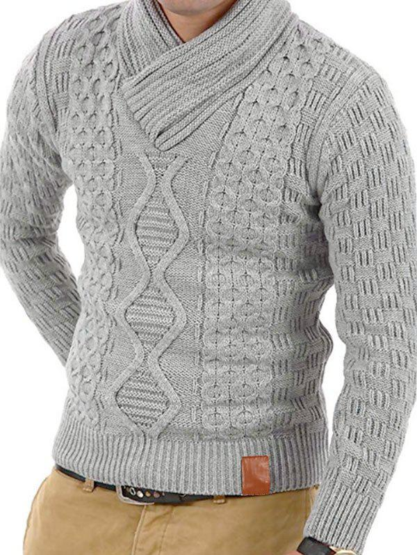 Solid Color Knitted Shawl Collar Sweater - LIGHT GRAY S