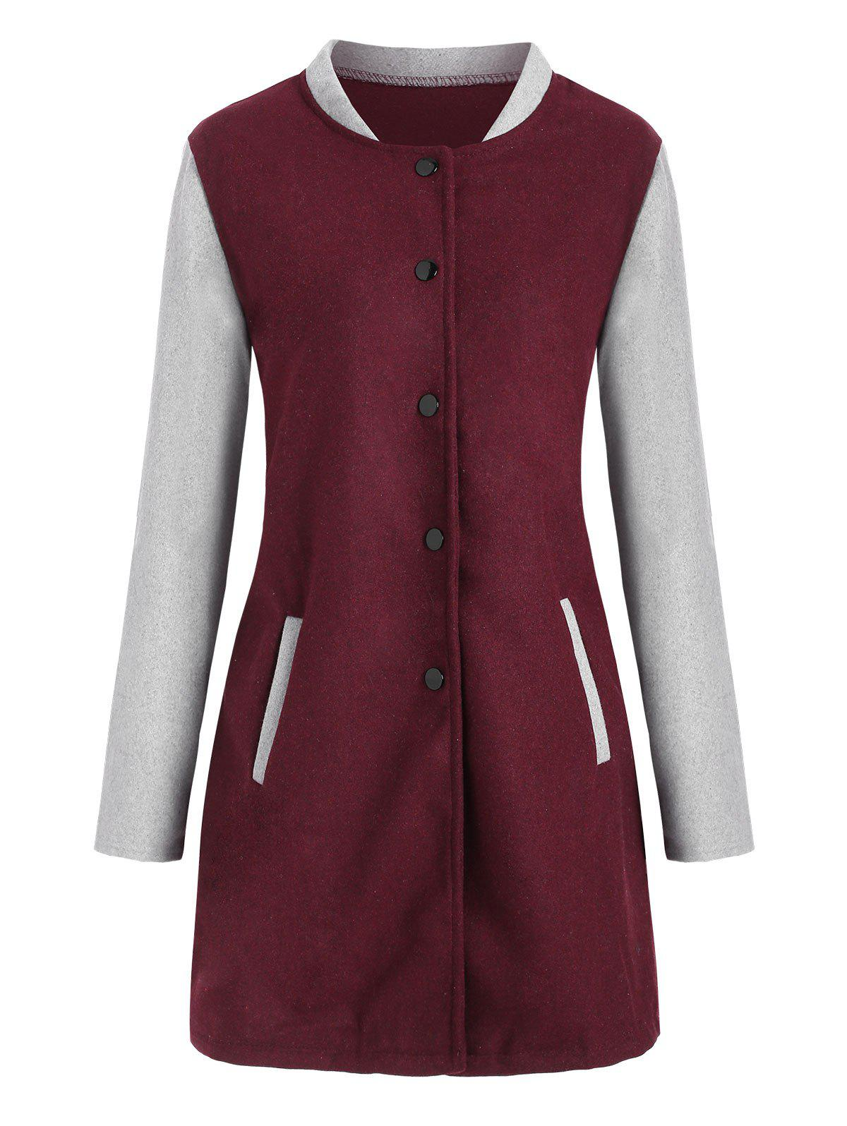 Snap Button Colorblock Coat with Pockets - RED WINE XL