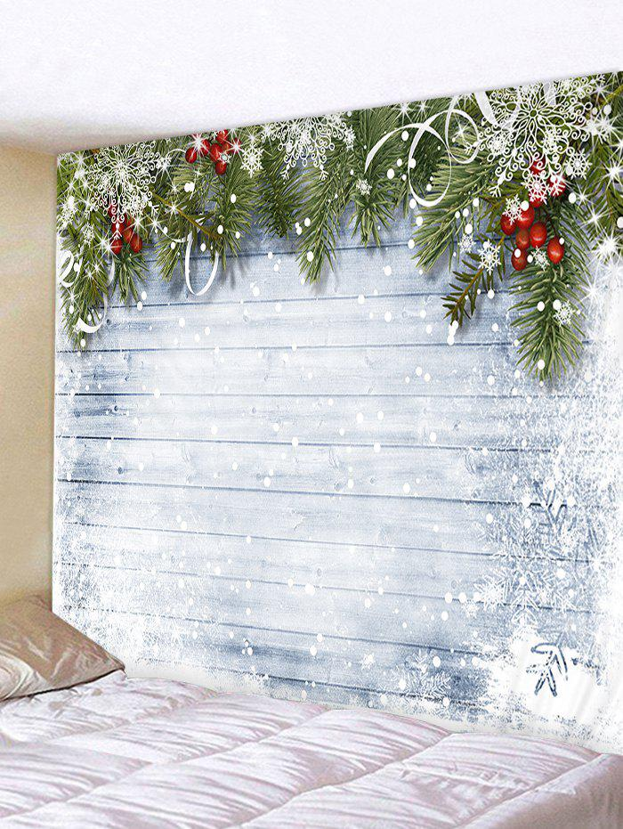 Christmas Wooden Snow Pattern Tapestry - COOL WHITE W79 X L71 INCH