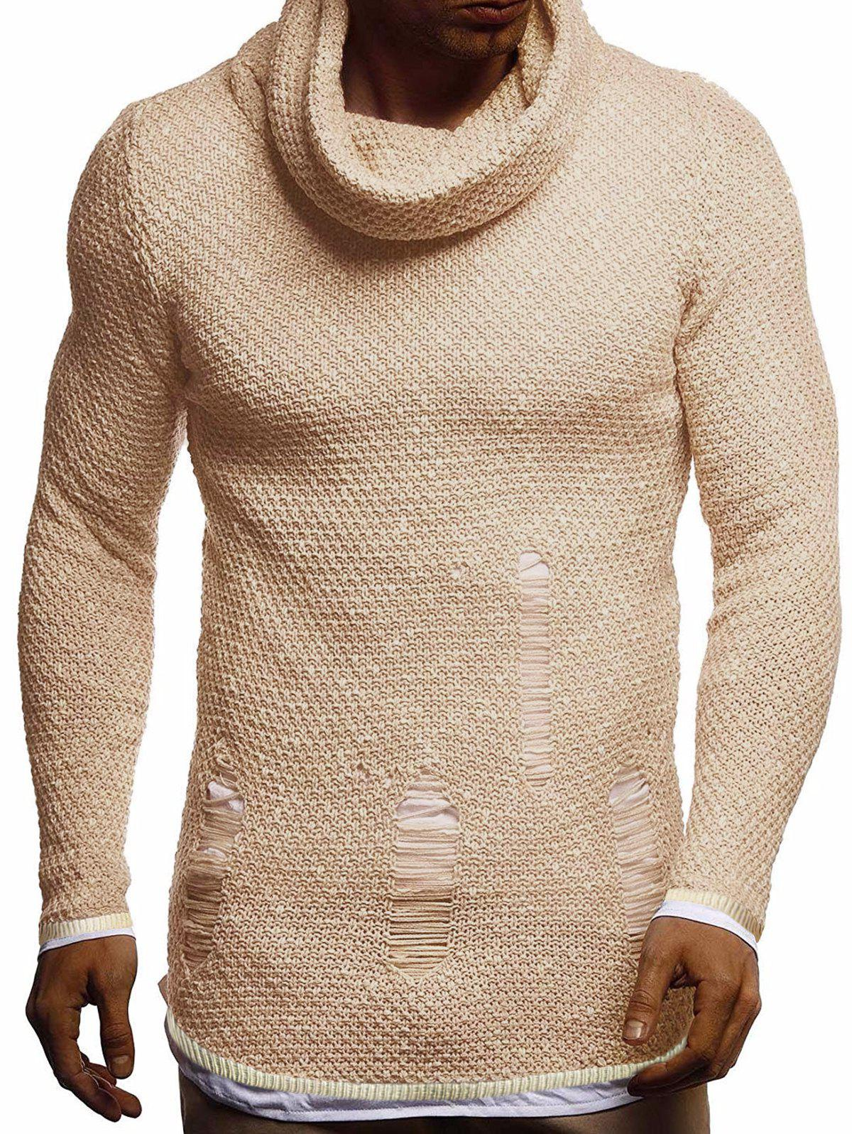 Ripped Decorated Casual Pullover Sweater - BEIGE XS