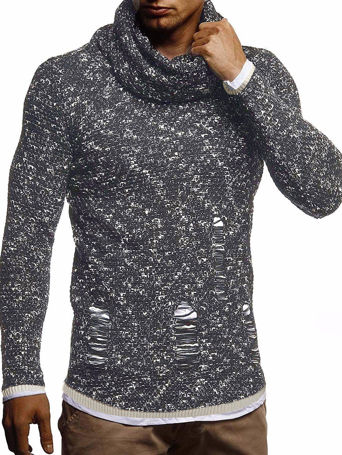 Ripped Decorated Casual Pullover Sweater - BLACK S