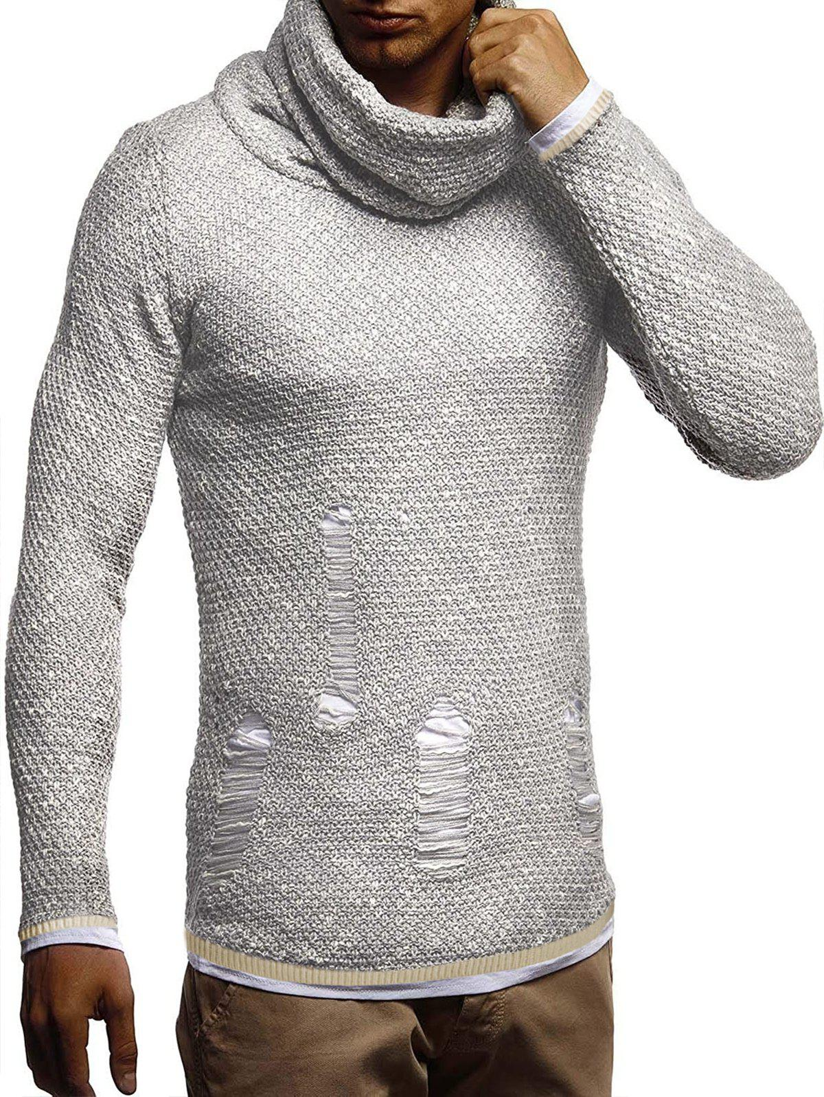 Ripped Decorated Casual Pullover Sweater - LIGHT GRAY S