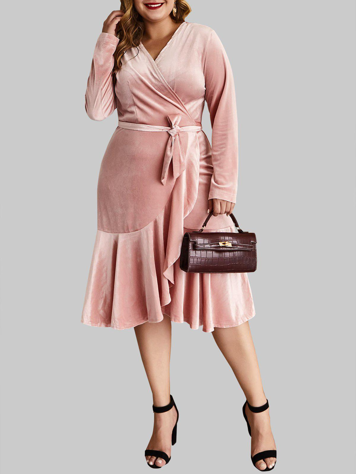 Plus Size Ruffled Midi Velvet Wrap Dress - PINK 4X