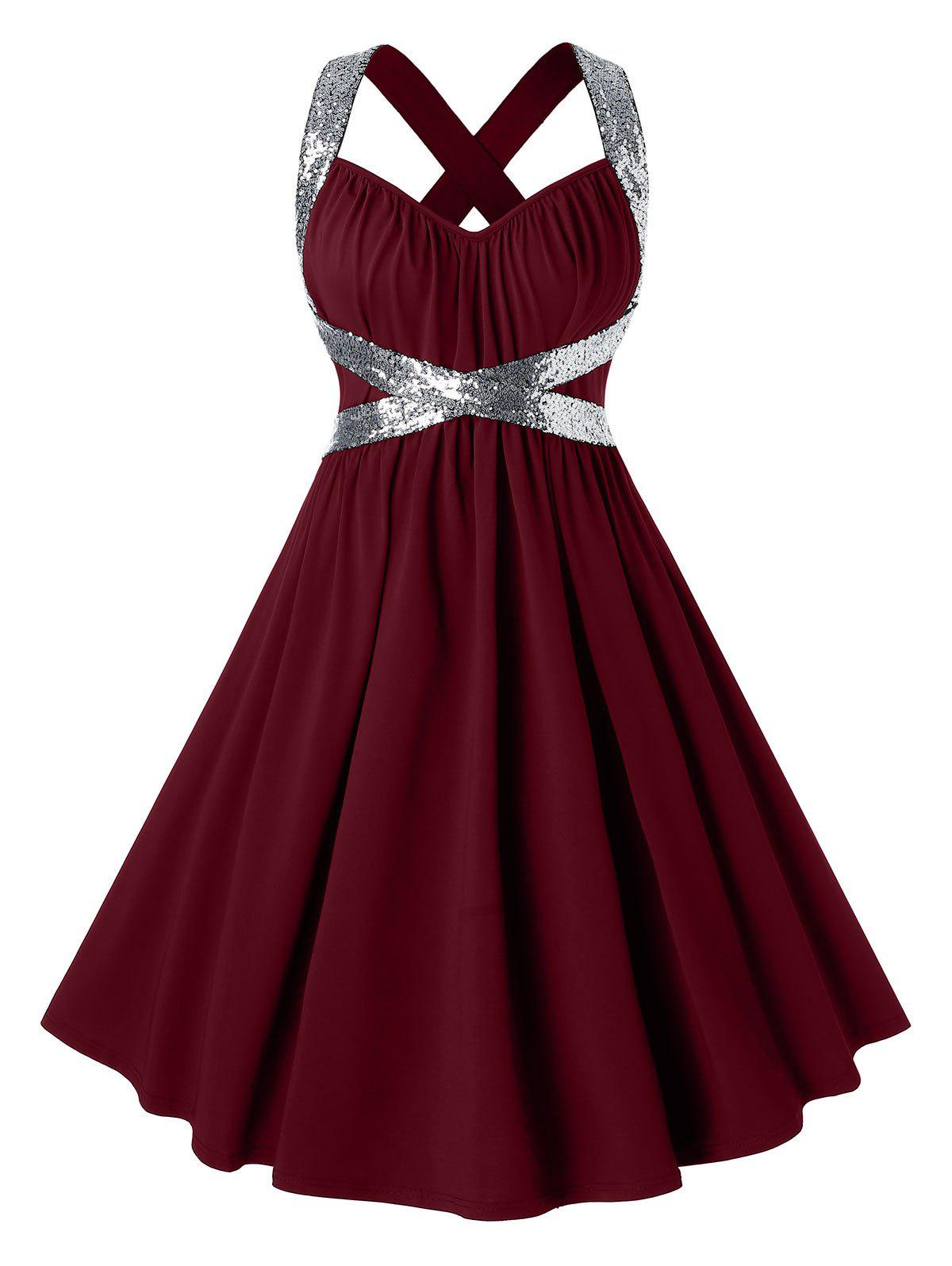Plus Size Sequins Criss Cross Party Dress - RED WINE 1X