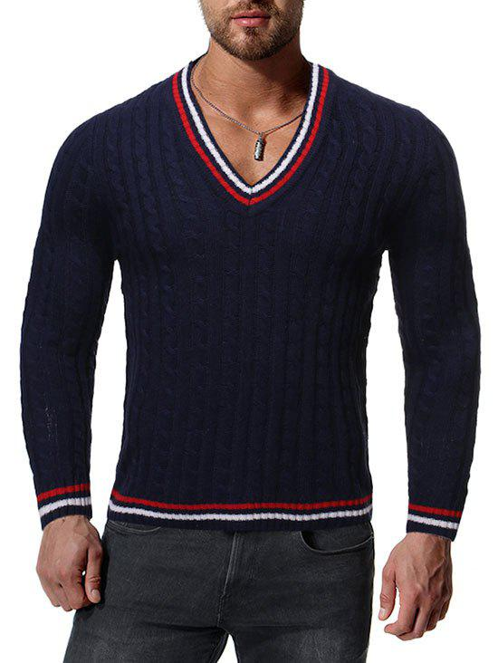 Contrast Stripe Cable Knit V-neck Sweater - CADETBLUE XS