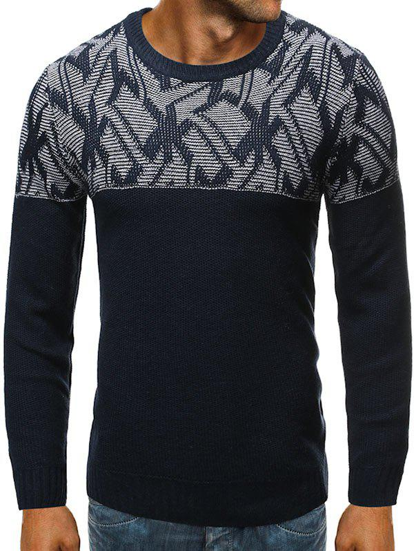 Geometric Graphic Two Tone Sweater - CADETBLUE XL