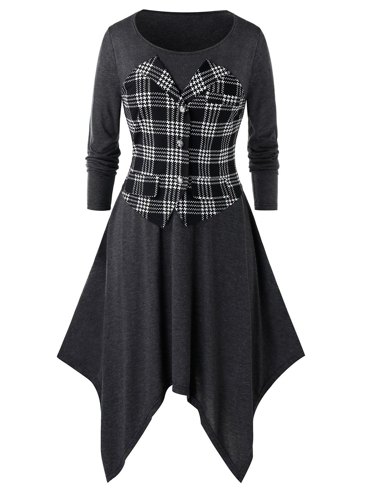 Plus Size Plaid Asymmetrical Long Sleeve Handkerchief Dress - GRAY 5X