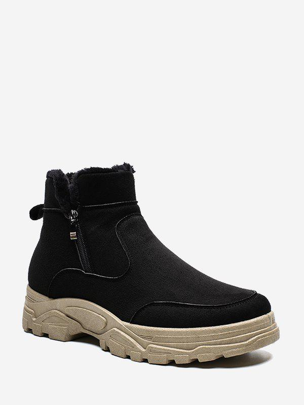 Fuzzy Trim Brushed Ankle Boots - BLACK EU 39