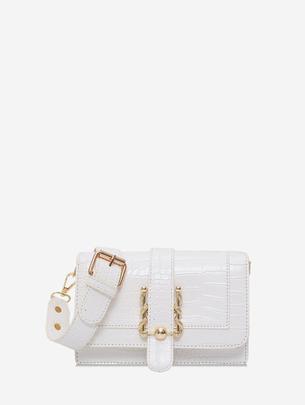 Simple Square Leather Embossed Shoulder Bag - WHITE