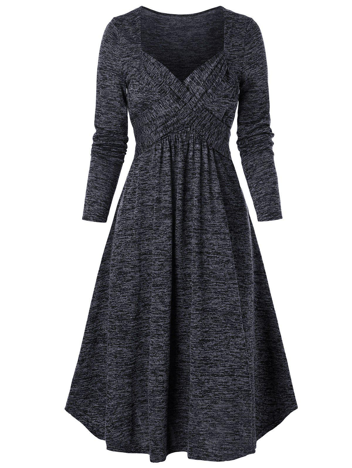 Space Dye Print Crossover Long Sleeve Dress - CARBON GRAY S