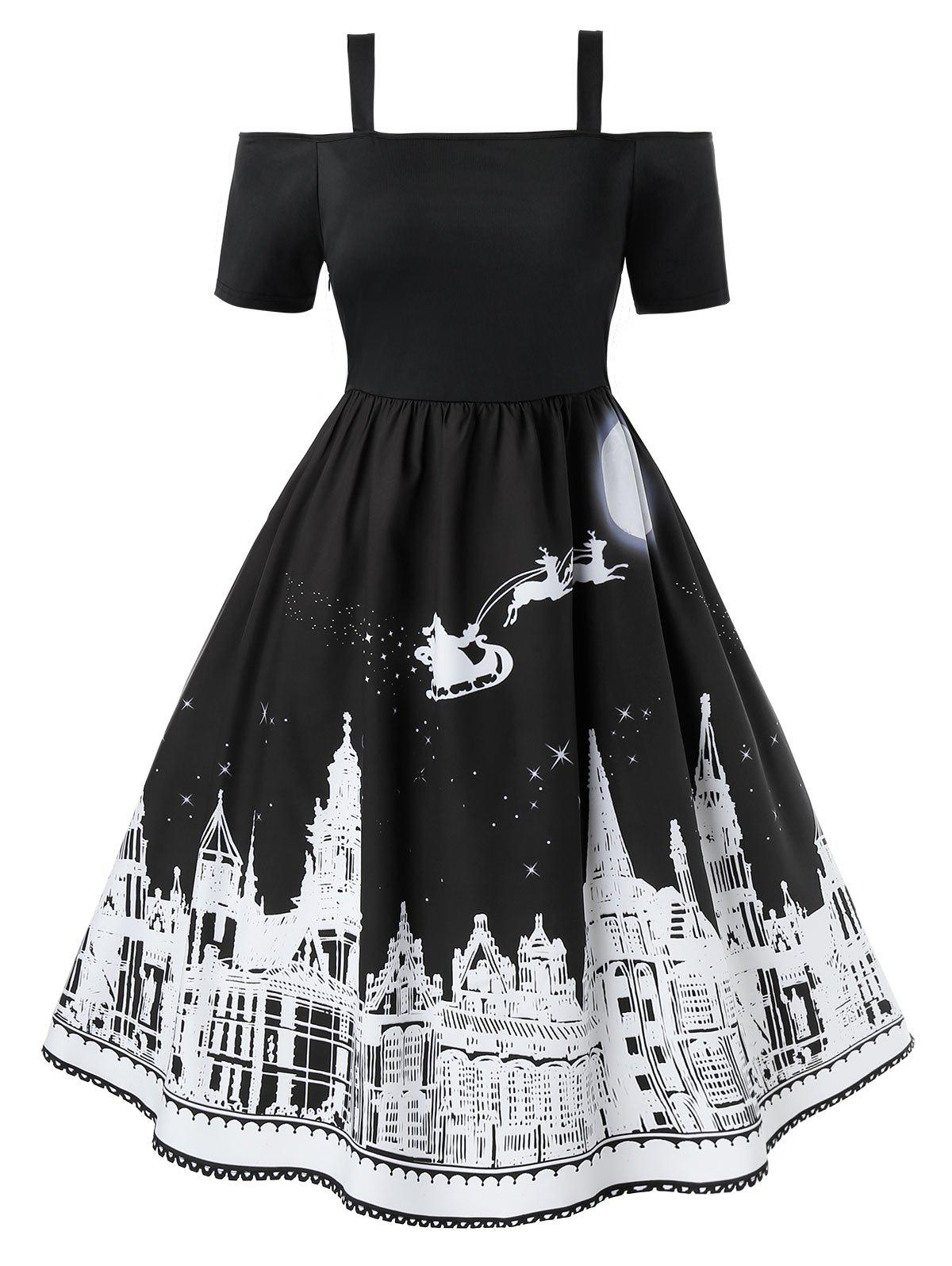 Plus Size Cold Shoulder Castle Print Christmas Dress - BLACK L