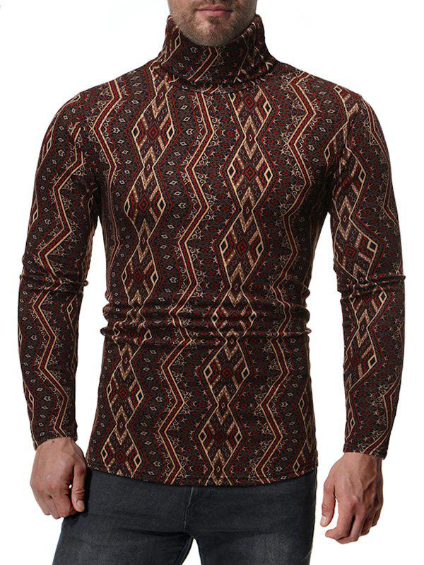 Geometric Pattern Long Sleeves Casual T-shirt - multicolor A S