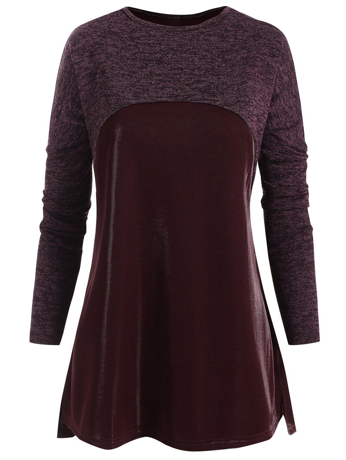 Plus Size Mixed Media Heathered Tunic Top - RED WINE 1X