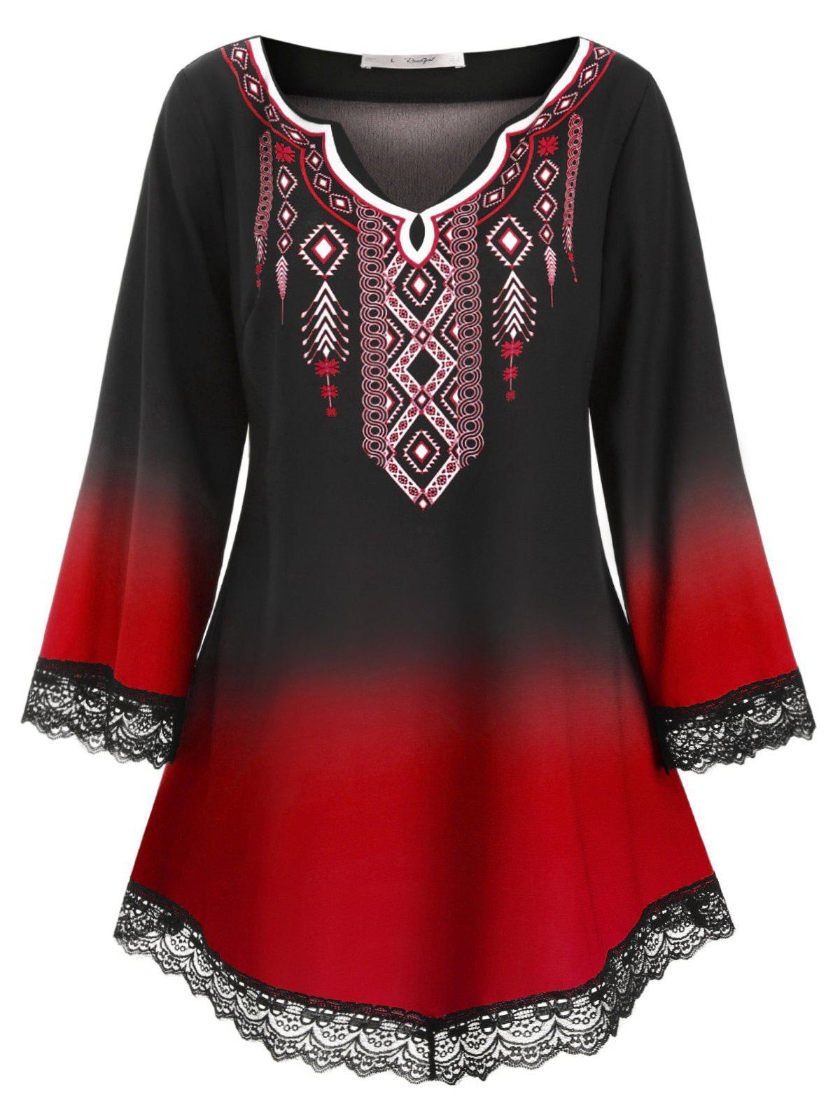 Printed Scalloped Lace Panel Longline Plus Size Blouse - RED L