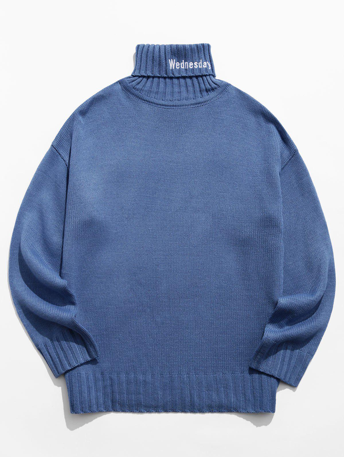 Turtleneck Letter Embroidery Long Sleeve Sweater - BLUE GRAY XL