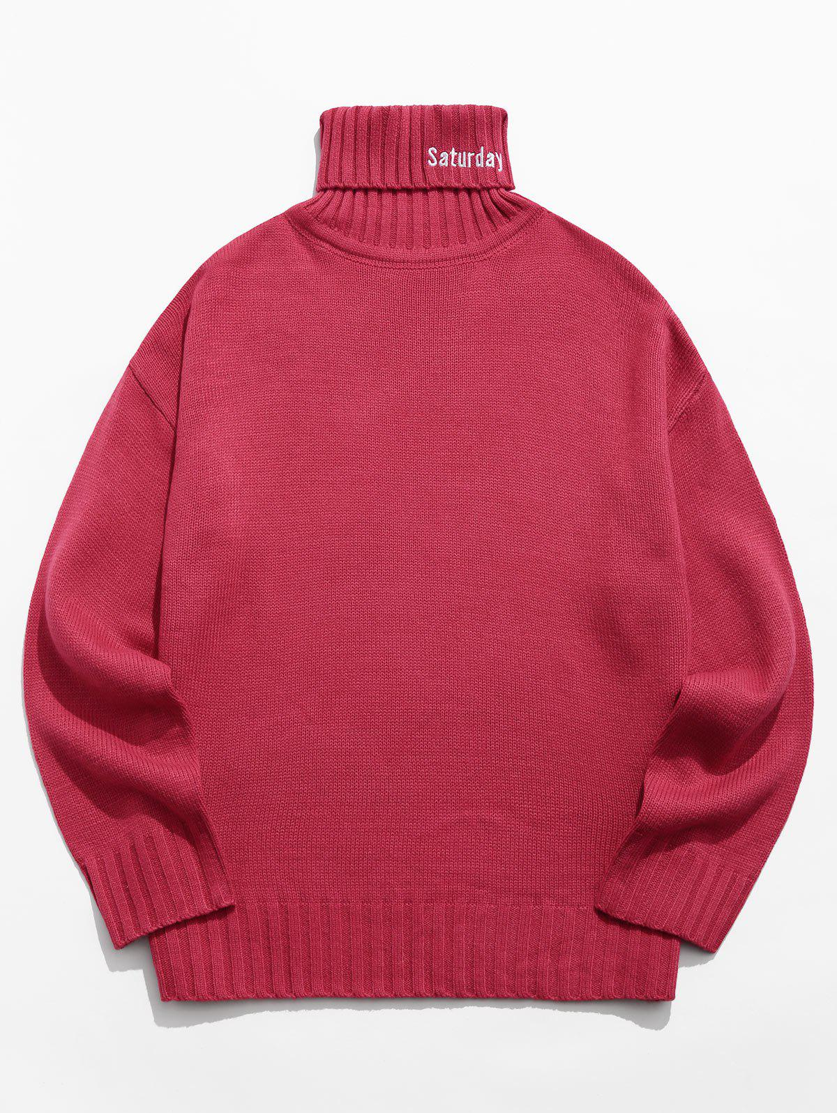 Turtleneck Letter Embroidery Long Sleeve Sweater - RED 2XL