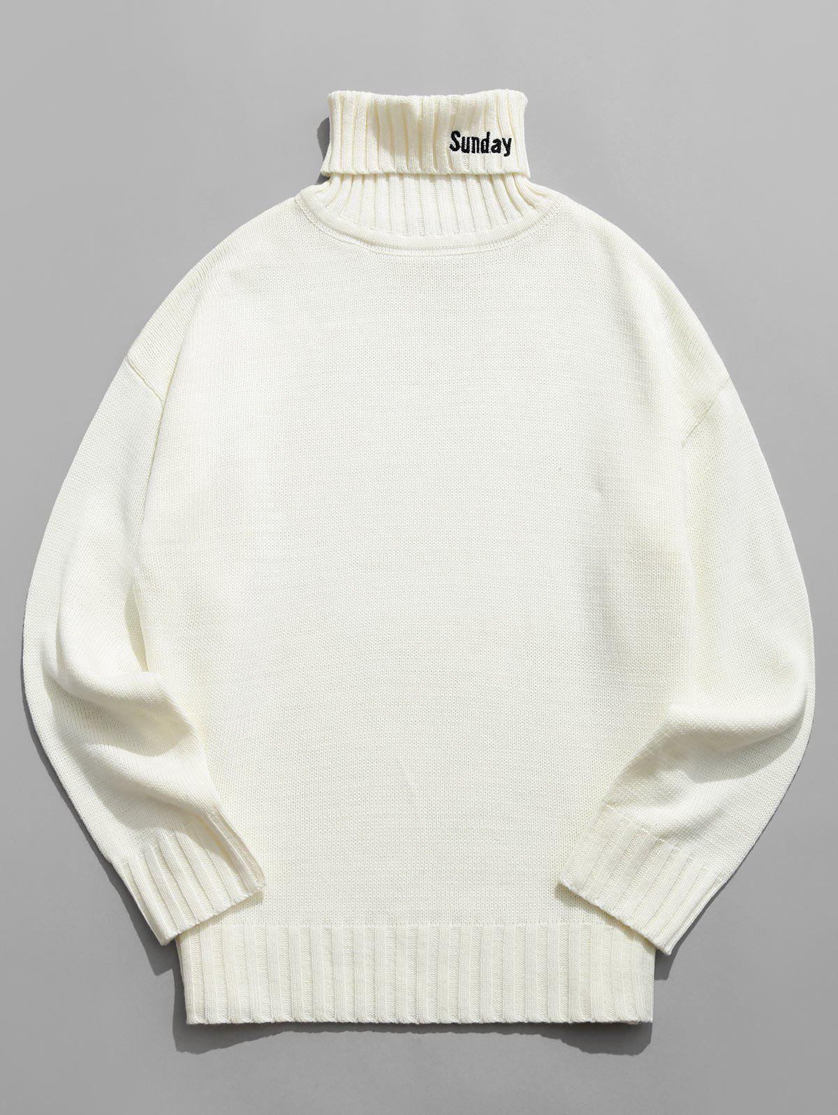 Turtleneck Letter Embroidery Long Sleeve Sweater - WHITE 2XL