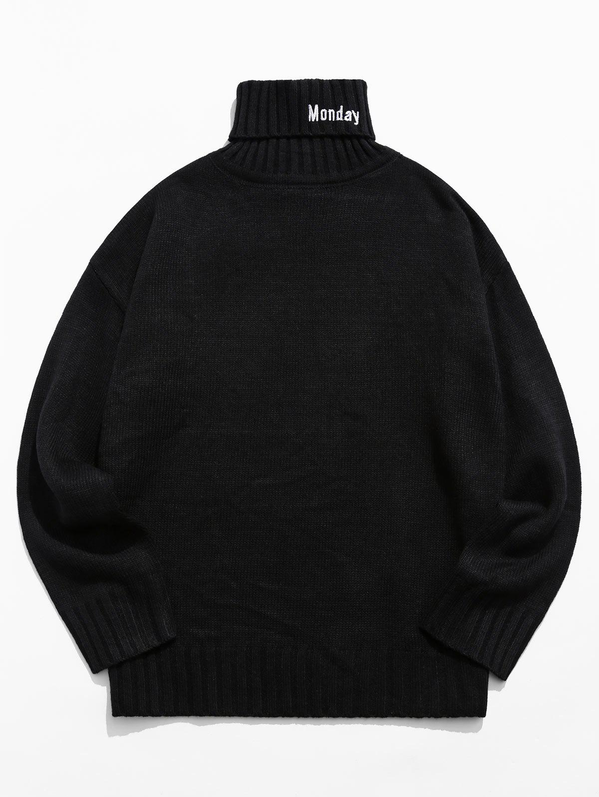 Turtleneck Letter Embroidery Long Sleeve Sweater - BLACK XL