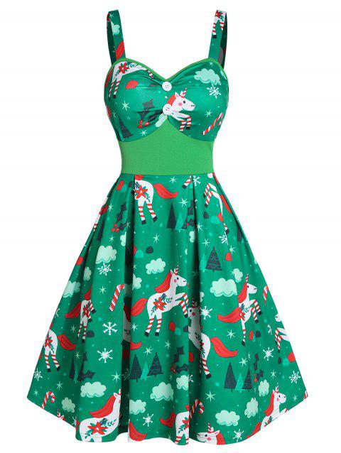 Christmas Unicorn Print Button Cami A Line Dress - PINE GREEN 3XL