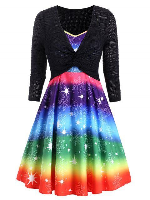 Plus Size Christmas Rainbow Snowflake Dress and Twisted Top Set - CLOVER GREEN 5X