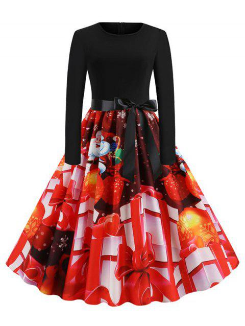 Christmas Gift Print Belted Long Sleeve Dress - multicolor E 2XL
