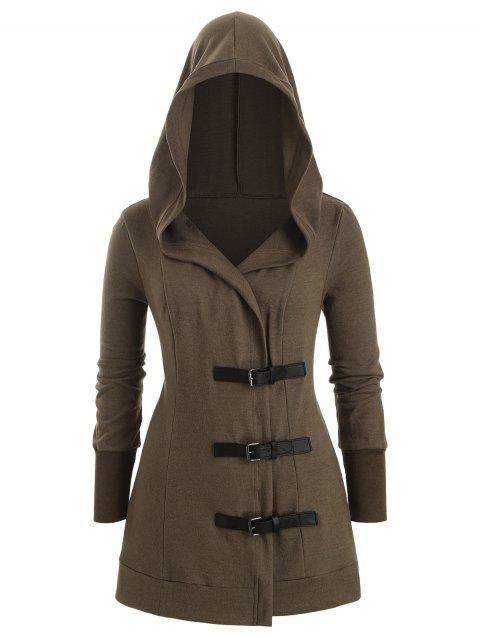 Buckle Front Hooded Longline Plus Size Cardigan - ARMY GREEN 5X