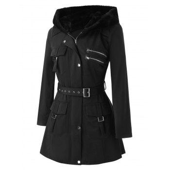 Plus Size Pockets Buckles Zippered Coat