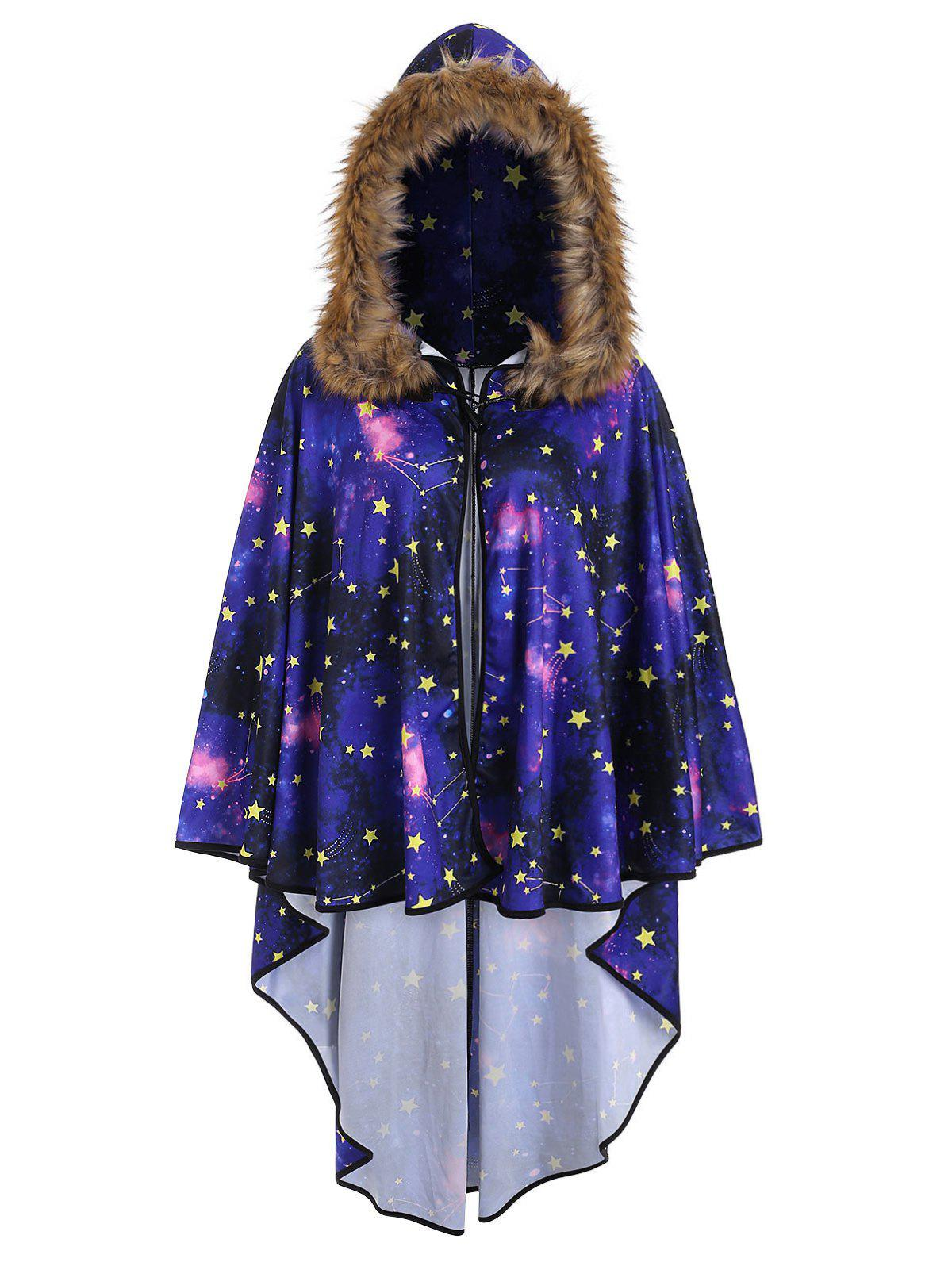 Plus Size Faux Fur 3D Galaxy Print Cloak - NEBULA 1X