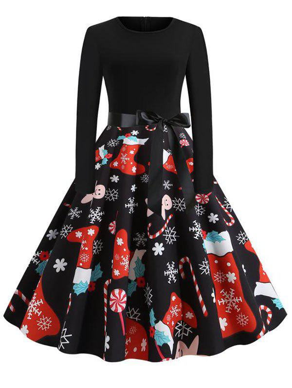Belted Long Sleeve Christmas Santa Claus Snowflake Snowman Dress - multicolor D S