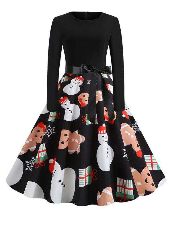 Belted Long Sleeve Christmas Santa Claus Snowflake Snowman Dress - multicolor E XL