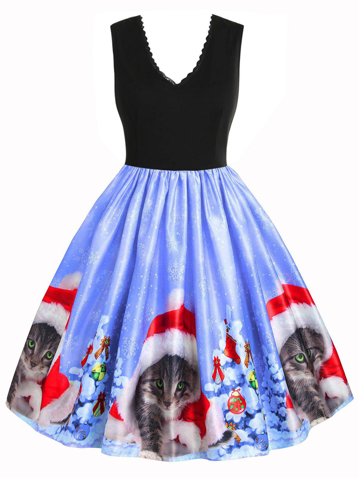 Back Zipper Christmas Cat Snowflake Lace Trim Dress - BLUE S