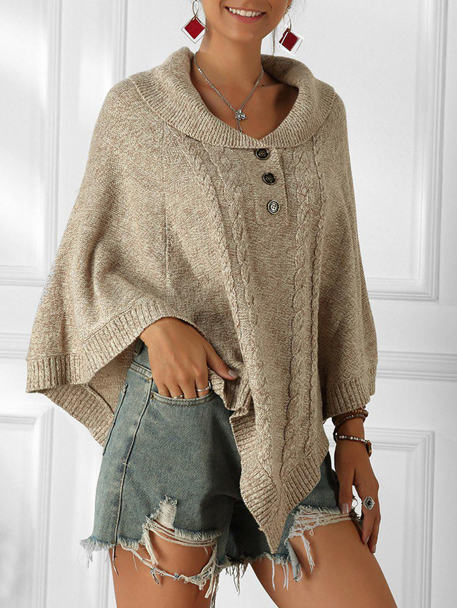 Cable Knit Heathered Poncho Sweater - WARM WHITE M